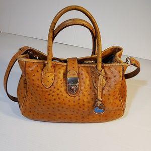 Dooney & Bourke Brown Ostrich Satchel Bag